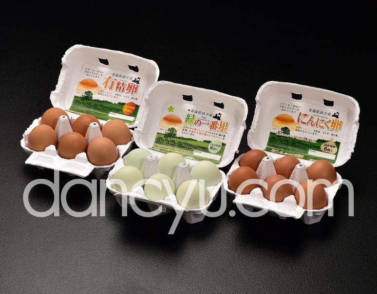 【お試しセット】緑の一番星・有精卵・にんにく卵 各6個(計18個)の写真