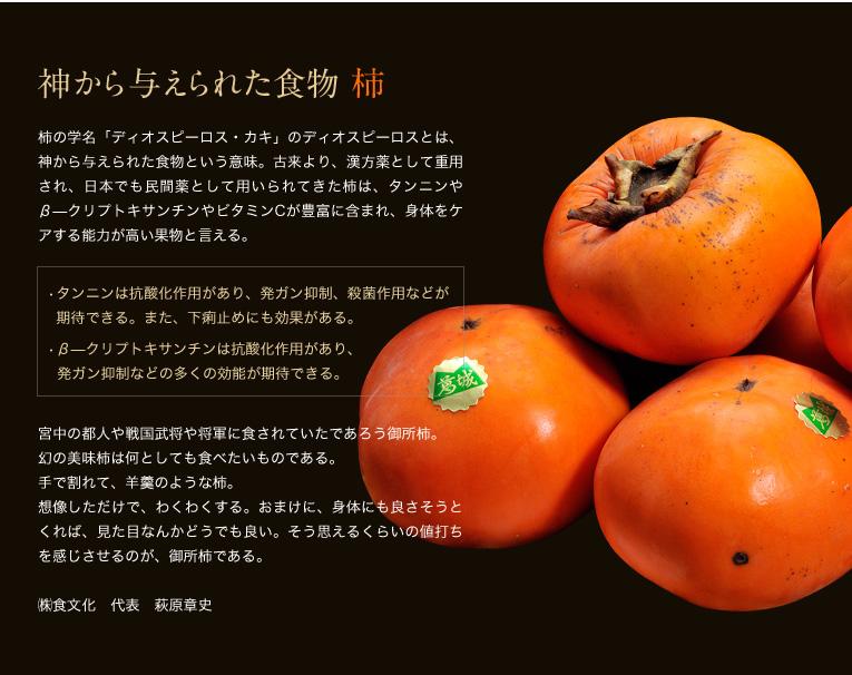 神から与えられた食物 柿 柿の学名「ディオスピーロス・カキ」のディオスピーロスとは、神から与えられた食物という意味。古来より、漢方薬として重用され、日本でも民間薬として用いられてきた柿は、タンニンやβ―クリプトキサンチンやビタミンCが豊富に含まれ、身体をケアする能力が高い果物と言える。   •タンニンは抗酸化作用があり、発ガン抑制、殺菌作用などが    期待できる。また、下痢止めにも効果がある。   •β―クリプトキサンチンは抗酸化作用があり、    発ガン抑制などの多くの効能が期待できる。  宮中の都人や戦国武将や将軍に食されていたであろう御所柿。 幻の美味柿は何としても食べたいものである。 手で割れて、羊羹のような柿。 想像しただけで、わくわくする。おまけに、身体にも良さそうとくれば、見た目なんかどうでも良い。そう思えるくらいの値打ちを感じさせるのが、御所柿である。  ㈱食文化 代表 萩原章史