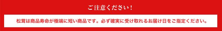 ご注意ください!松茸は商品寿命が極端に短い商品です。必ず確実に受け取れるお届け日をご指定ください。