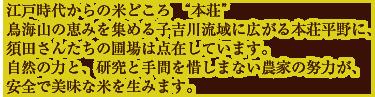 """江戸時代からの米どころ """"本荘"""" 鳥海山の恵みを集める子吉川流域に広がる本荘平野に、 須田さんたちの圃場は点在しています。 自然の力と、研究と手間を惜しまない農家の努力が、 安全で美味な米を生みます。"""